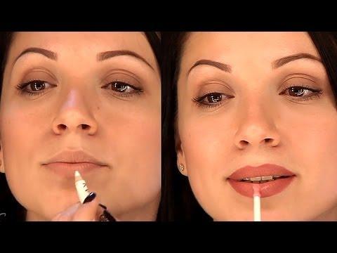 Уроки макияжа. Увеличение губ с помощью косметики. Как увеличить губы с помощью макияжа.