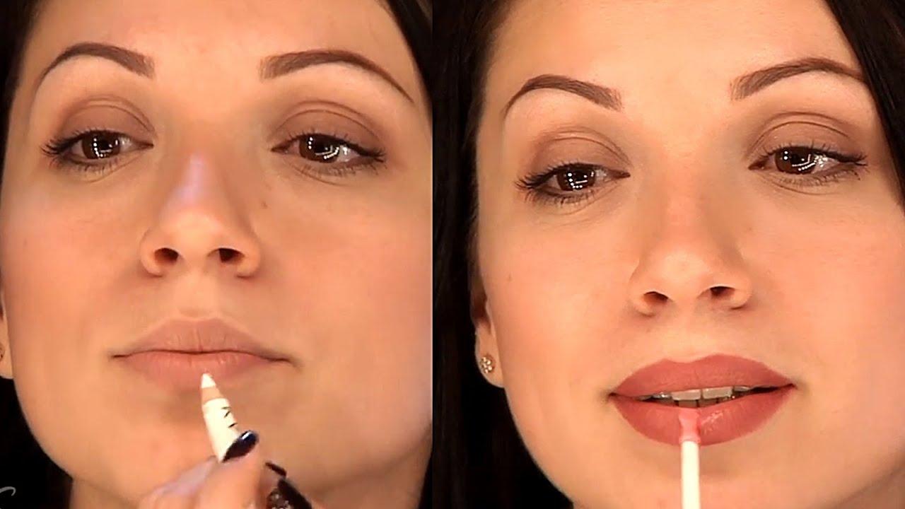 Макияж губ визуально увеличить губы