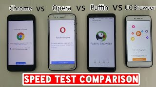 Google Chrome vs Uc Browser vs Opera vs Puffin Browser Speed test Comparison, Fastest Mobile browser