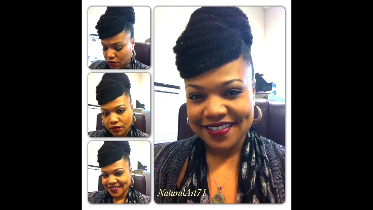 Natural Hair Styles With Marley Hair: Marley Bun W/Faux Bang