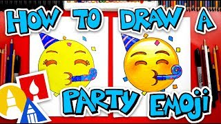 How To Draw The Party Emoji Face 🥳 + Spotlight