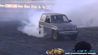 DAIHATSU FEROZA BURNOUT AT SYDNEY DRAGWAY 29.6.2014