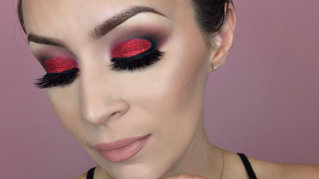 Red glitter eye makeup