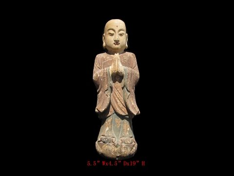 Chinese Antique Wood Hand Carving Standing Monk Statue WK2880