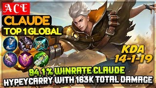 94,1 % Winrate Claude, Hyper Carry With 163k Total Damage [ Top 1 Global Claude ] A C E Claude