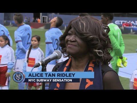 Alice Tan Ridley sings the national anthem at Yankee Stadium