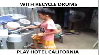 The boy playing drums by using recycle things.