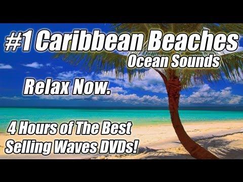 WAVE SOUNDS Ocean Waves Relaxation Video Relaxing Beach Sounds 4 HOURS Best CARIBBEAN BEACHES DVD