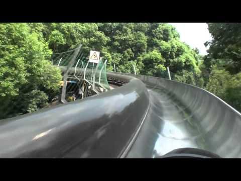 Bobkart Alpine Roller Coaster Front Seat POV Onride Gongqing Forest Park China