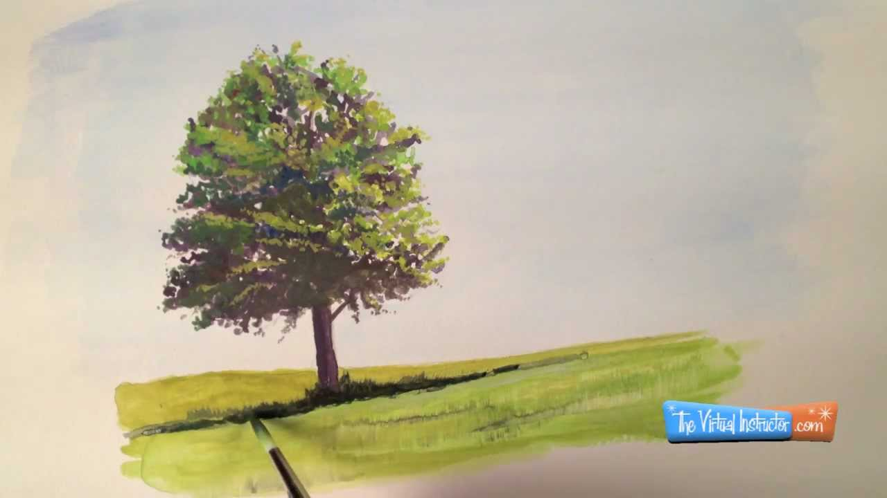 How to paint with goauche tree demonstration youtube for How to paint a tree