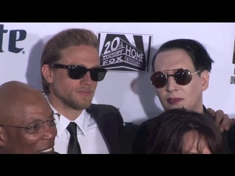 MARILYN MANSON hangs with CHARLIE HUNNAM and DREA DE MATTEO at 'Sons of Anarchy' season premiere