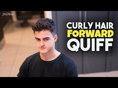 Mens Curly Hair Inspiration | Curly Hair Quiff Haircut & Hairstyle Tutorial | BluMaan 2018