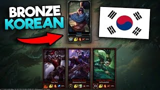 """THERE IS NO WAY"" One Bronze Korean vs 3 NA Golds (1v3) - League of Legends"