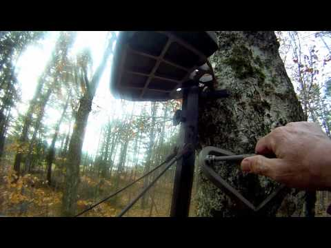Bill Brown a  Maine Guide takes down a tree stand that has been up for 2 years