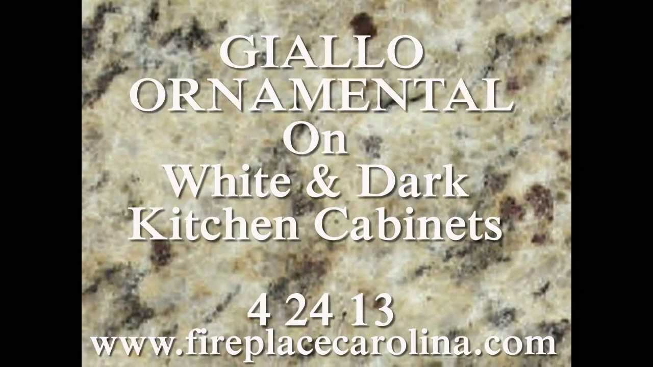 Granite countertops installed giallo ornamental on dark amp white