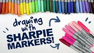 MAKING ART WITH SHARPIE MARKERS!   Sharpies   Designing Colorful Fairy Characters   Drawing Process