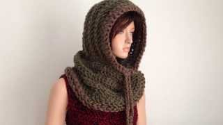 Crochet Hooded Neckwarmer/ Cowl