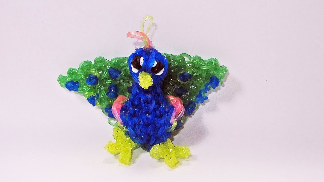 rainbow loom peacock charm how to design tutorial diy mommy animals youtube. Black Bedroom Furniture Sets. Home Design Ideas