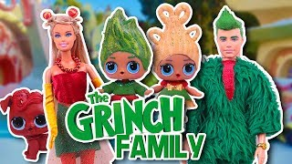🎅 The GRINCH Family 🎄 LOL Surprise & Barbie Custom Dolls! - Toy Transformations
