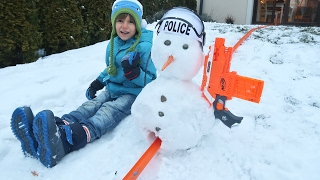 Hot Wheels on the Snow with Nerf Gun Snowman - Just Having Fun