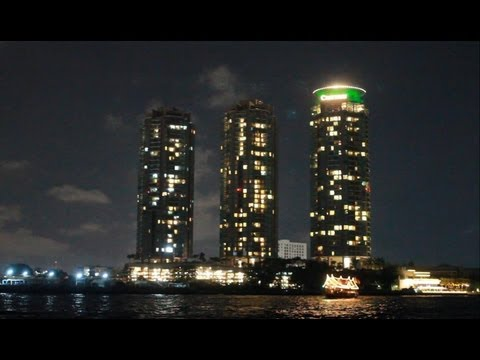 2013 Asiatique Tour Bangkok Chao Phraya River Chatrium Towers Ramada Hotel Thailand Night HD