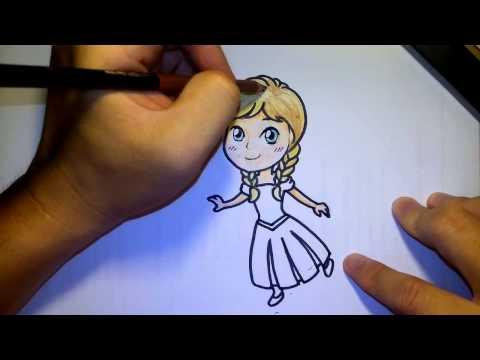 (ระบายสี) วาดการ์ตูน กันเถอะ สอนวาดรูประบายสี การ์ตูน อันนา จาก ฟรอซเซ่น