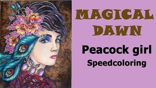 'Peacock girl' Speed coloring from 'Magical Dawn' / Coloring with Alena