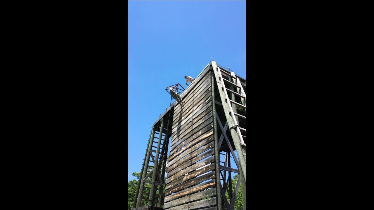 Repelling off tower at fort leaonard wood mo youtube for How to make a fort out of wood