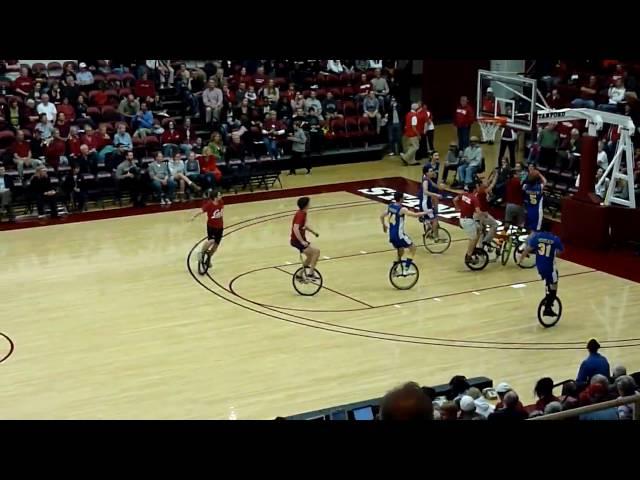 (high angle) The Big Wheel: Stanford v Cal Unicycle Basketball