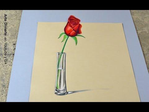 La técnica SECRETA para hacer un dibujo en 3D Cómo dibujar una rosa anamórfica