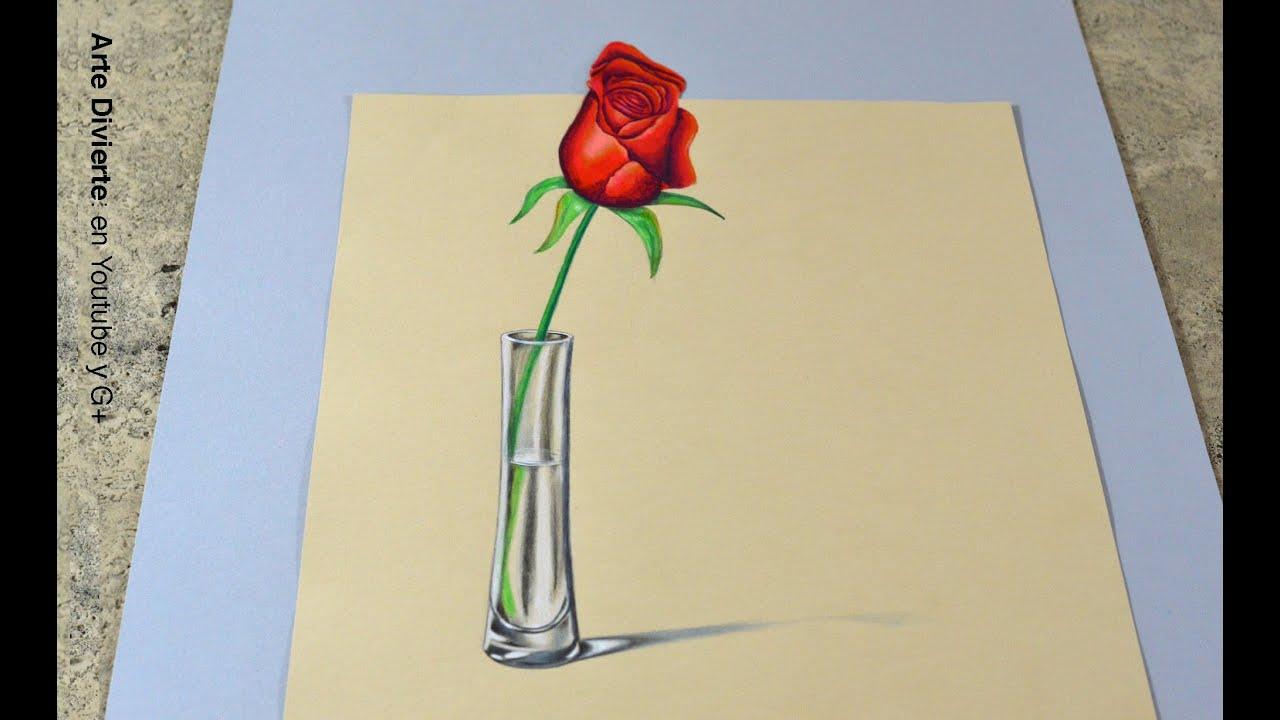 El secreto para hacer un dibujo en 3d c mo dibujar una - Como secar una rosa ...