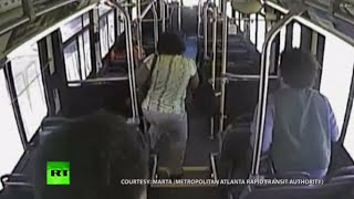 Passengers flee for lives before train smashes into bus in Atlanta