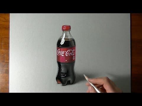 Drawing Time Lapse: Coca-Cola plastic bottle - hyperrealistic art