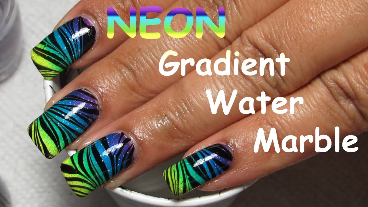 Neon Water Marble Nails Neon Gradient Water Marble