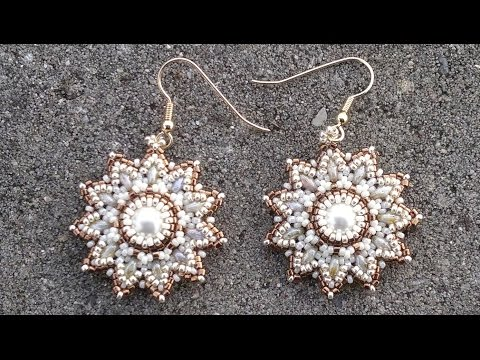Beading4perfectionists : Pearl / superduo / seedbeads earrings beading tutorial