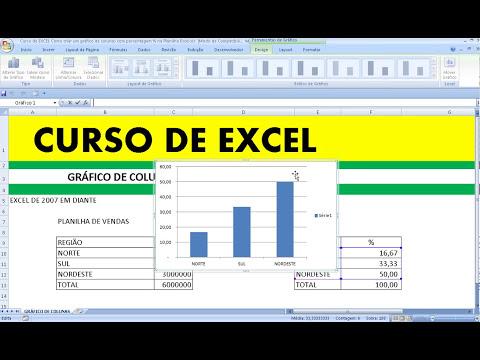 Curso de EXCEL Como criar um gráfico de colunas com porcentagem % na Planilha Excel