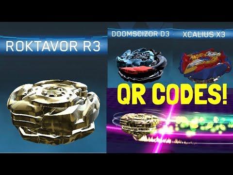 GOLD ROKTAVOR R3 AND BLACK DOOMSCIZOR D3 QR CODES! Beyblade Burst App! #1