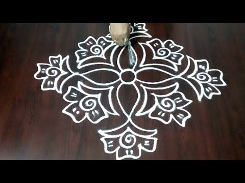 Latest Rose Flower Rangoli Design || Simple Roses Muggulu || Freehand  Design ||  Fashion World