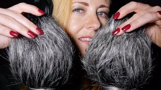ASMR Windy Muffs ❤︎ Hair Smoothing, Head Scratching, Mic Blowing