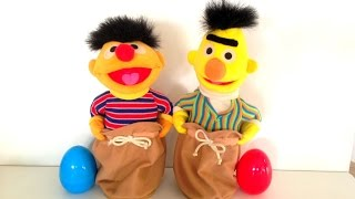 2 Surprise eggs with Sesame Street Bert and Ernie jumping