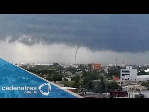 Tromba Marina sorprende a habitantes de Carmen, Campeche