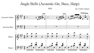 Jingle Bells - for Gtr, Harp, Bass - Arr. Clark Cothern (1957 -  ) [BMI]