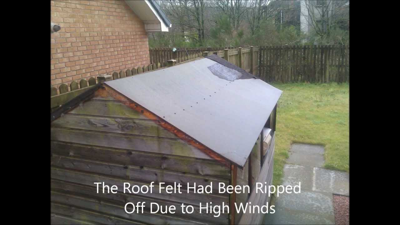 re felting a shed roof by dtb contracts limited youtube. Black Bedroom Furniture Sets. Home Design Ideas
