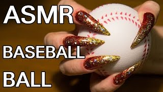 ASMR sound baseball ball scratching tapping red long nails