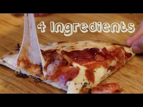 Bacon Flatbread Pizza - 4 Ingredient, 4 Minute, No Oven Recipe