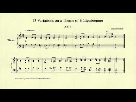 Шуберт Франц - Works For Piano Solo D.576 13 Variations On A Theme By Anselm Hüttenbrenner