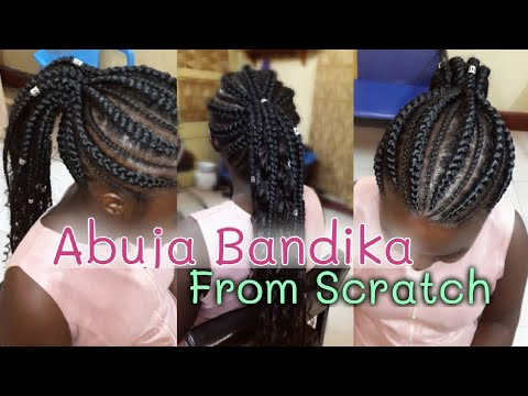 How to Make Abuja Bandika lines From scratch / Ghanian lines Hairstyle / Weave on Cornrows (Braids)