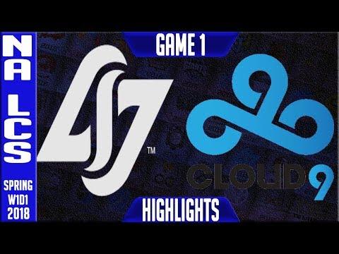 CLG vs C9 Highlights | NA LCS Spring 2018 S8 W1D1 | Counter Logic Gaming vs Cloud 9 Highlights