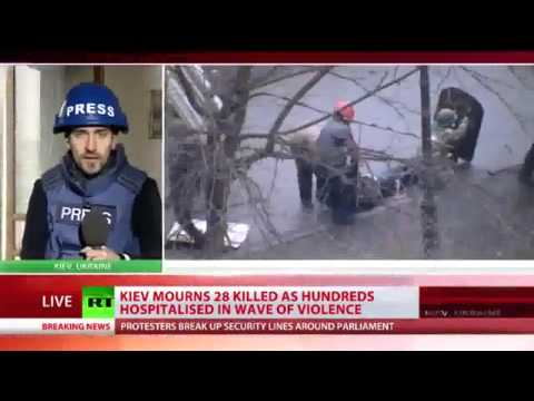 Ukraine Kiev Protest 2014 : Sniper Fires On Cops | Raw Footage FULL Video