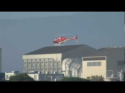 N4KA Helicopter flying Fast in to Nasa Ames at Moffett Field